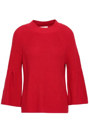 JOIE Ingrit fluted cotton and cashmere-blend sweater
