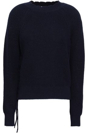 JOIE Lace-up cotton and cashmere-blend sweater