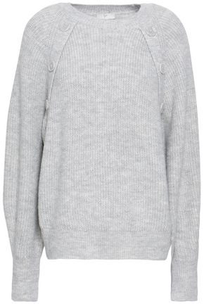 JOIE Button-detailed mélange knitted sweater