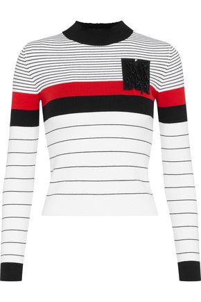 MSGM Appliquéd striped ribbed cotton-blend sweater