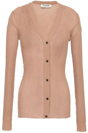 JIL SANDER Ribbed cotton-blend cardigan