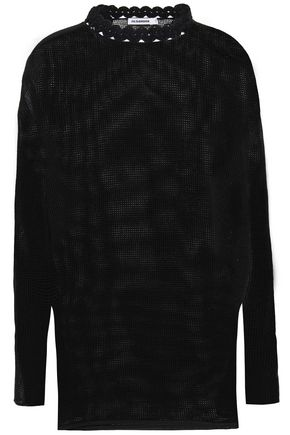 JIL SANDER Crochet-trimmed cotton and linen-blend top