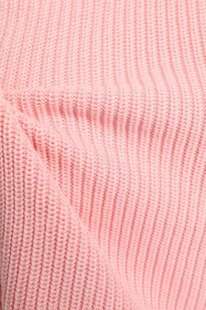 CLAUDIE PIERLOT Lace-up ribbed cotton-blend sweater