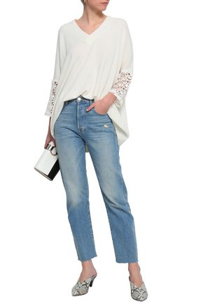 CLAUDIE PIERLOT Lace-trimmed knitted sweater