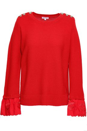 CLAUDIE PIERLOT Embroidered cotton-paneled wool and cashmere-blend sweater