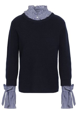 CLAUDIE PIERLOT Striped cotton-paneled ribbed wool and cotton-blend sweater