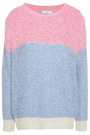 SANDRO Color-block crochet-knit sweater