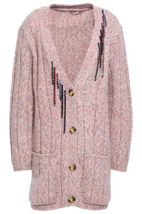 CHRISTOPHER KANE Crystal-embellished ribbed-knit wool-blend cardigan