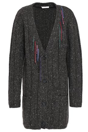 CHRISTOPHER KANE Embellished ribbed wool-blend cardigan
