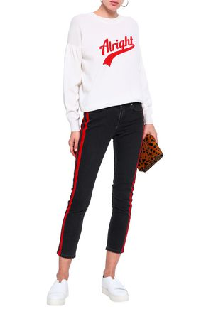 SANDRO Intarsia wool and cashmere-blend sweater