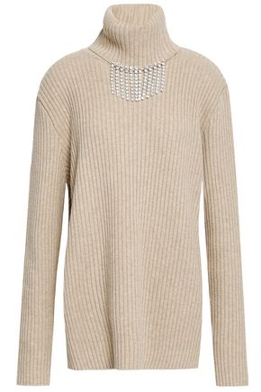 CHRISTOPHER KANE Crystal-embellished ribbed wool turtleneck sweater
