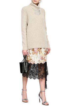 CHRISTOPHER KANE Crystal-embellished ribbed wool turtleneck sweater
