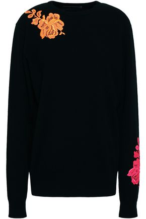 CHRISTOPHER KANE Lace-appliquéd cashmere sweater