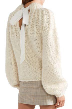 GANNI Julliard tie-back merino wool and mohair-blend sweater