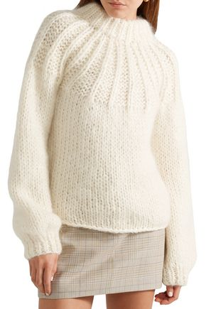 GANNI Julliard tie-back merino wool and mohair-blend sweater