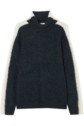 GANNI Evangelista brushed ribbed-knit turtleneck sweater
