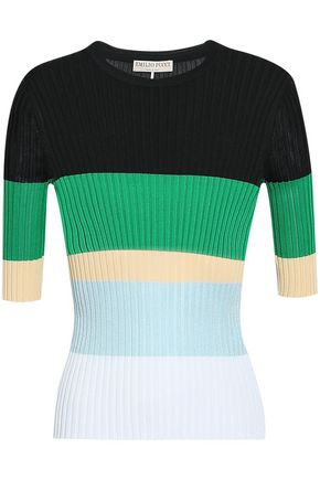 EMILIO PUCCI Color-block ribbed-knit top