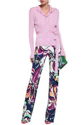 EMILIO PUCCI Belted embroidered ribbed-knit cardigan