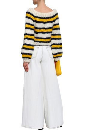 GANNI Julliard striped mohair and wool-blend sweater