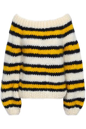 GANNI Julliard striped mohair and wool-blend sweater