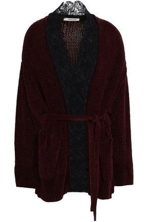 ROBERTO CAVALLI Lace-trimmed ribbed silk-chenille cardigan