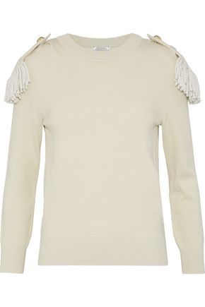 NINA RICCI Fringe-trimmed wool and cotton-blend sweater