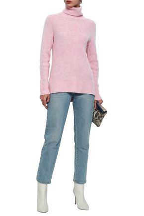 GANNI Mercer mélange ribbed merino wool-blend turtleneck sweater