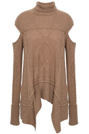ROBERTO CAVALLI Cutout camel turtleneck sweater