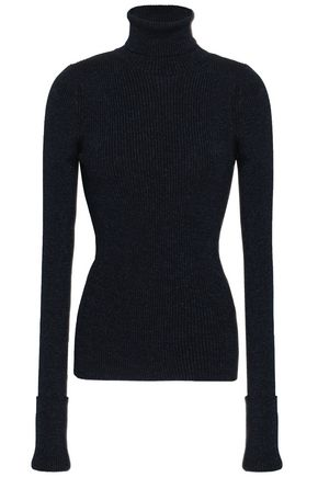 ROBERTO CAVALLI Metallic ribbed-knit turtleneck sweater
