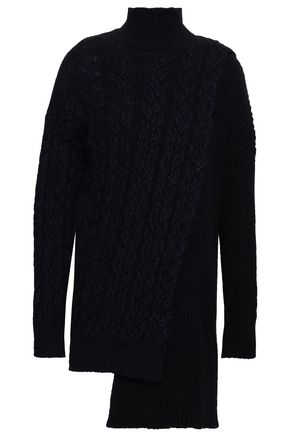 STELLA McCARTNEY Ribbed and cable-knit wool-blend turtleneck sweater