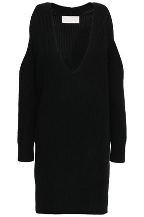 MICHELLE MASON Cold-shoulder ribbed wool and cashmere-blend sweater