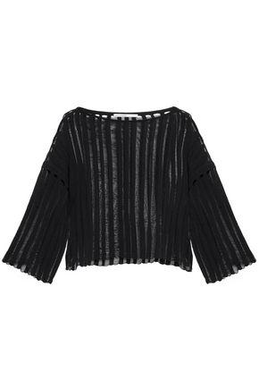 GENTRYPORTOFINO Open-knit cotton-blend top