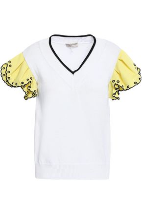 EMILIO PUCCI Broiderie anglaise-paneled cotton top