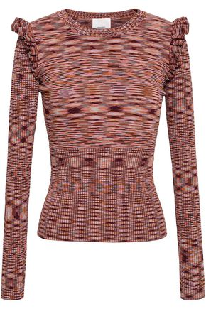CINQ À SEPT Ruffle-trimmed mélange stretch-knit sweater