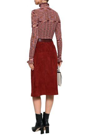 CINQ À SEPT Ruffle-trimmed crochet-knit turtleneck sweater