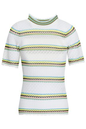 SANDRO Pointelle-knit cotton-blend top