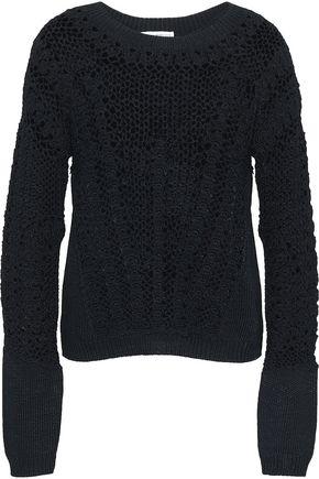 AMANDA WAKELEY Crocheted open-knit cotton-blend sweater