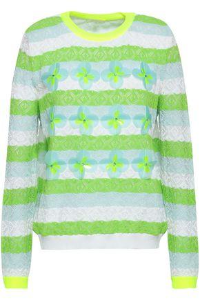 DELPOZO 装飾付き ストライプ 透かし編みニット コットン混 セーター