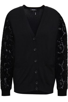 DKNY Corded lace-paneled knitted cardigan
