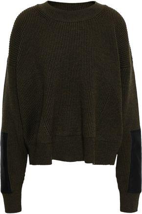 STELLA McCARTNEY Faux leather-trimmed mélange wool sweater