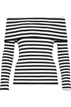 MILLY Off-the-shoulder striped ribbed-knit top