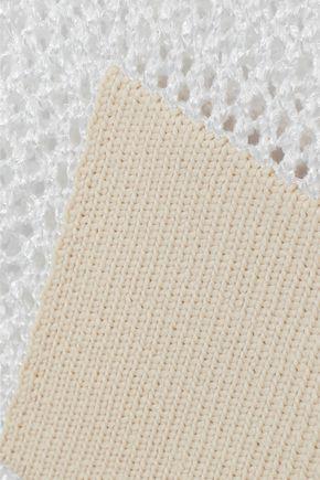 TIBI Jane patchwork-effect open-knit turtleneck sweater