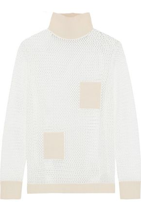 TIBI Jane patchwork-effect open-knit turtleneck sweater