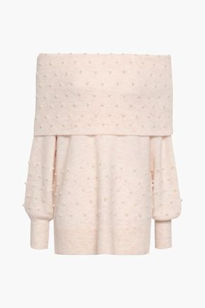 MICHELLE MASON Off-the-shoulder faux pearl-embellished brushed stretch-knit sweater