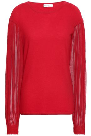 AMANDA WAKELEY Paneled cashmere and silk-tulle sweater