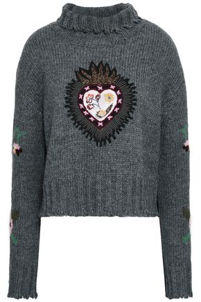 CINQ À SEPT Appliquéd intarsia-knit sweater