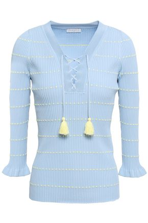 SANDRO Tassel-trimmed striped ribbed-knit sweater