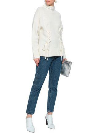 CINQ À SEPT Lace-up wool-blend turtleneck sweater