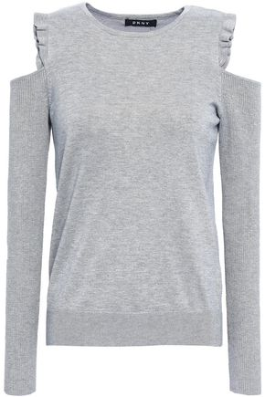 DKNY Cold-shoulder knitted sweater