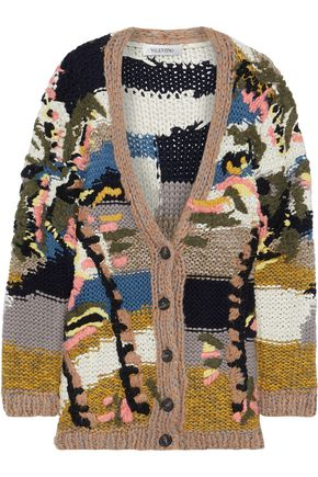 VALENTINO GARAVANI Embroidered wool, cashmere and silk-blend cardigan